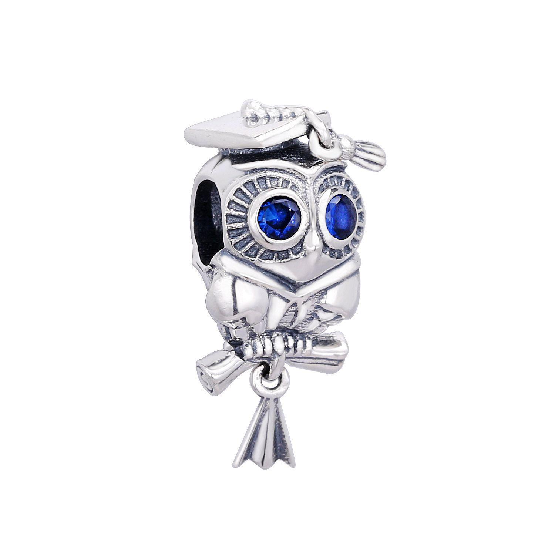 2020 Nouvelle Collection 925 en argent sterling été Wise Owl Graduation Charm Dangle Perle Fits Bijoux Bracelets Pandora Europe