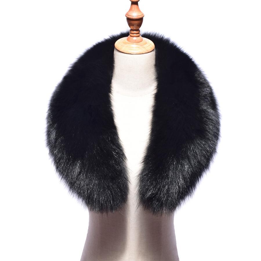 2018 new Real Fox Fur Collar Women 100% Natural Fox Fur Scarf Winter Warm Fur Collar Scarves Black D19011004