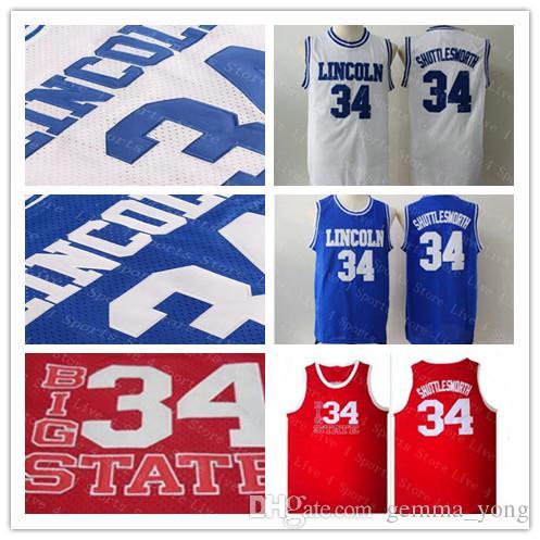 Ucuz Erkekler İsa 34 İsa Shuttlesworth Jersey Lincoln Oyun Filmi Basketbol Mesh Formalar Mavi Beyaz Kırmızı 100% Dikişli Gömlek Iyi