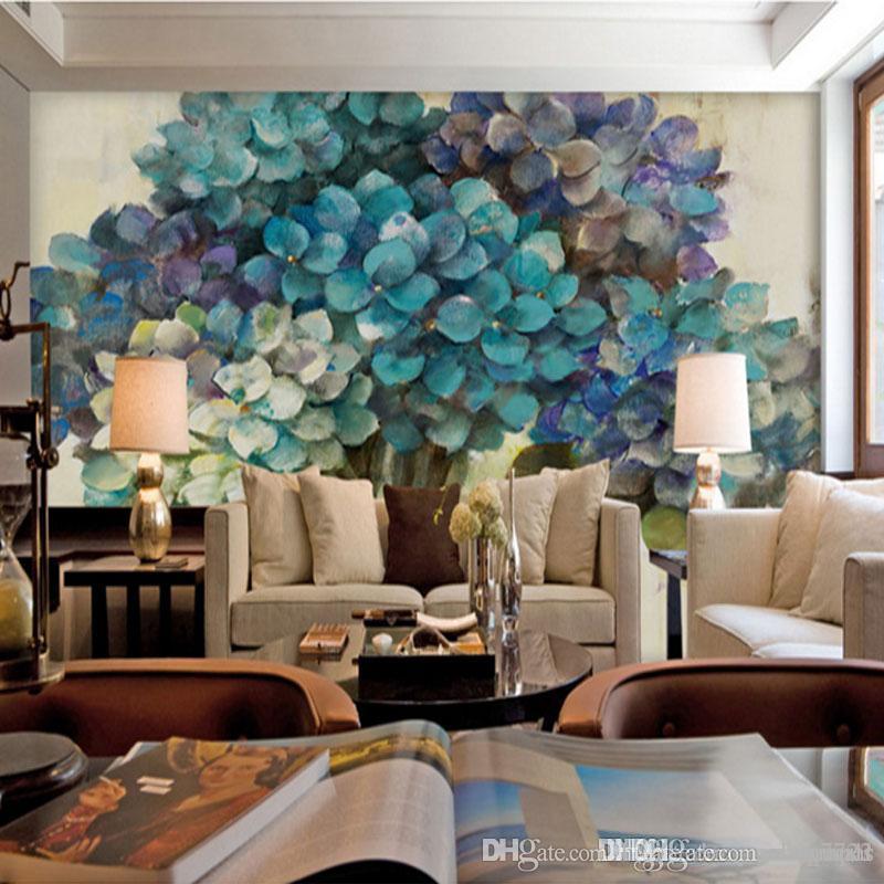 Novos produtos 3d personalizado foto murais de parede Sala de estar quarto TV parede Arte abstrata árvores Azuis