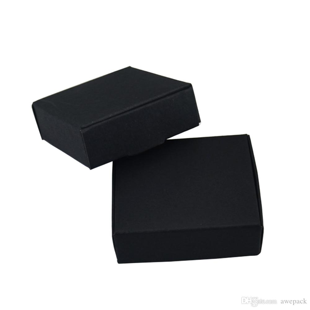 7*7*2.2cm Black Paper Boxes for Wedding Party Gift Packing DIY Handmade Soap Candy Package Kraft Paper Box Decoration 50pcs/lot 50pcs/lot