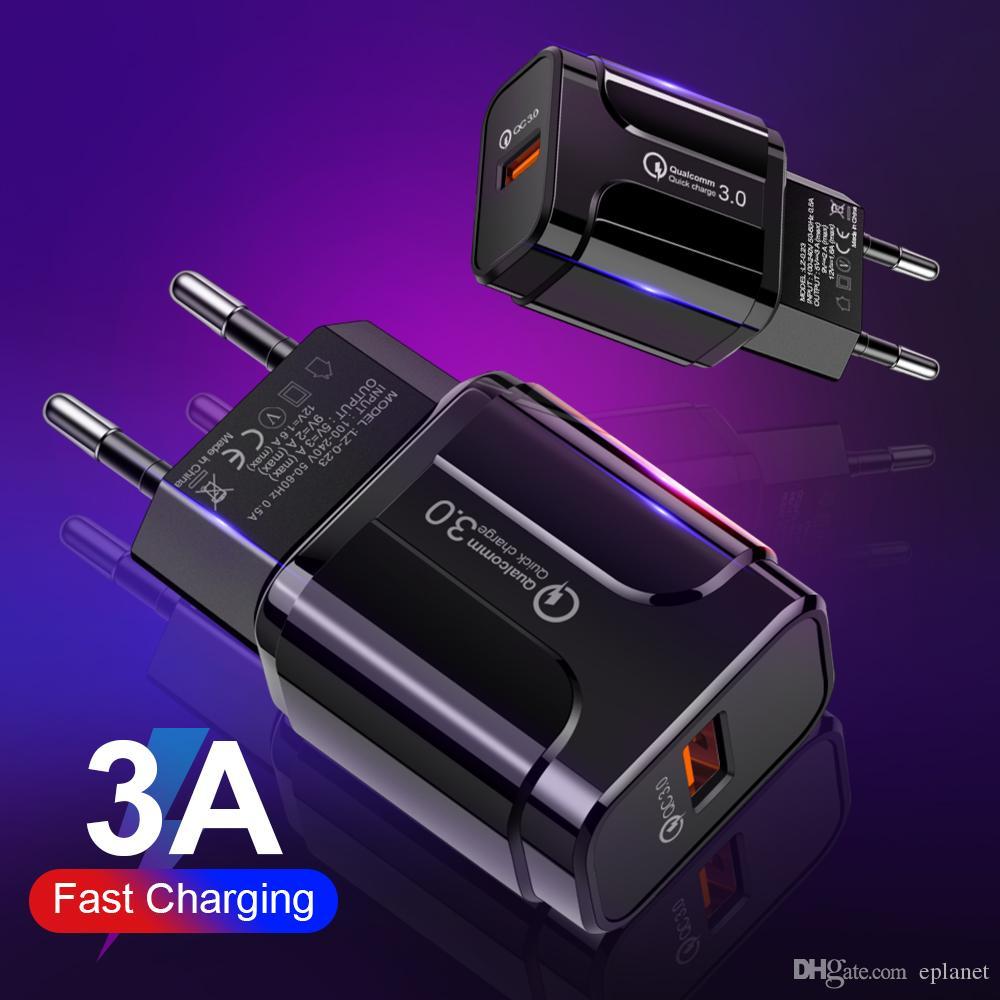 شاحن الشحن السريع 3.0 USB 3.0 QC شحن سريع محول التوصيل الولايات المتحدة الاتحاد الأوروبي جدار شاحن الهاتف للحصول على سامسونج XIAOMI