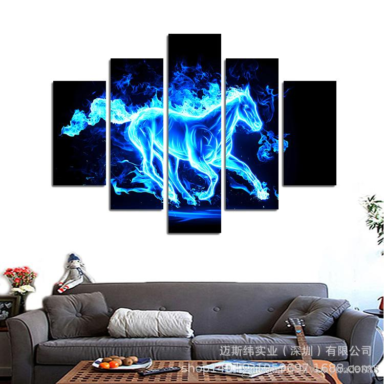 5 Pcs Combinations HD Abstract Fantasy Blue Red Fire horses Pattern Unframed Canvas Painting Wall Decoration Printed Oil Painting poster