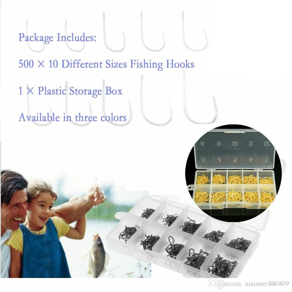 500 Pcs Fish Hooks 10-Sizes Fishing Black Sharpened With Box Quality Kit