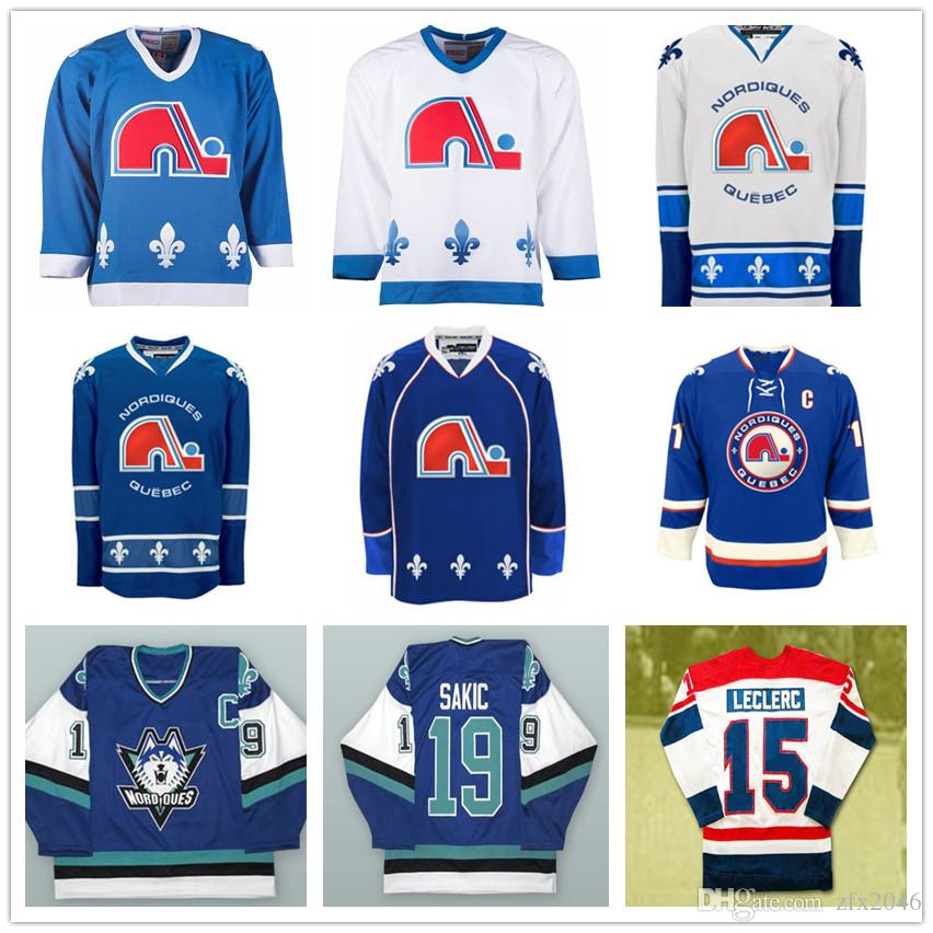 Custom Quebec Nordiques Vintage 19 Joe Sakic Hockey Jerseys 26 Peter Stastny 13 Mats Sundin 15 Rene Leclerc Stitched Any Name Your Number