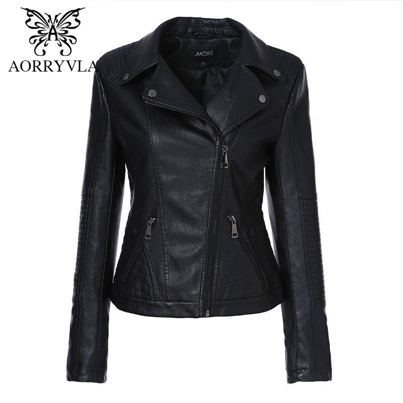 AORRYVLA 2019 Yeni Bahar Kadın Faux Deri Ceket Moda Siyah Renk Turn-Aşağı Yaka Fermuarlar Kısa Bayanlar PU Deri Ceket T5190612