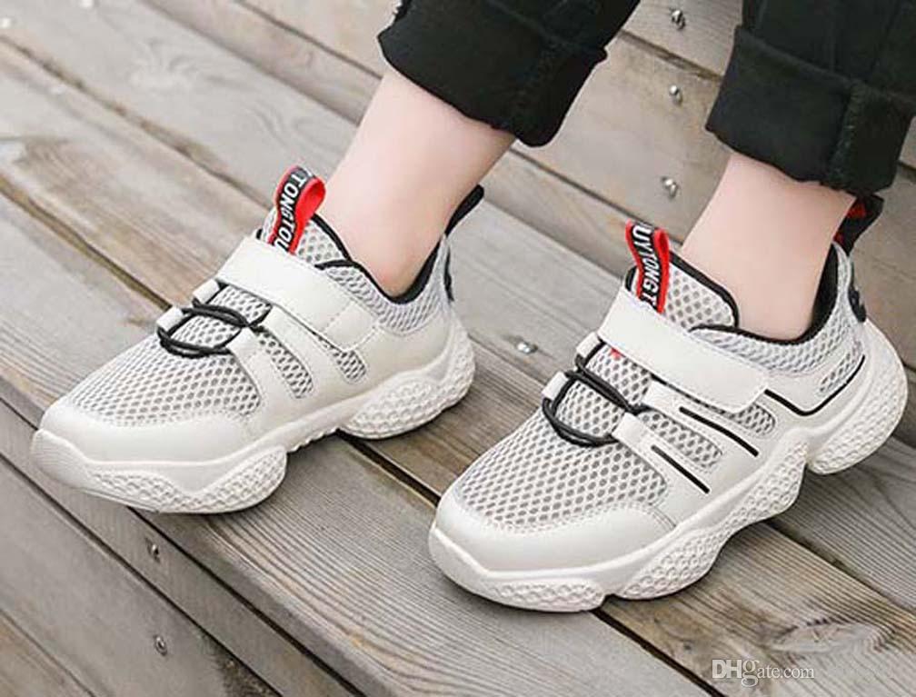 Clásica de calidad superior zapatilla de deporte Chaussures enfants Moda inteligente Chaussures plataforma zapatos de cuero zapatos de los niños triples aire shoes011 PX699