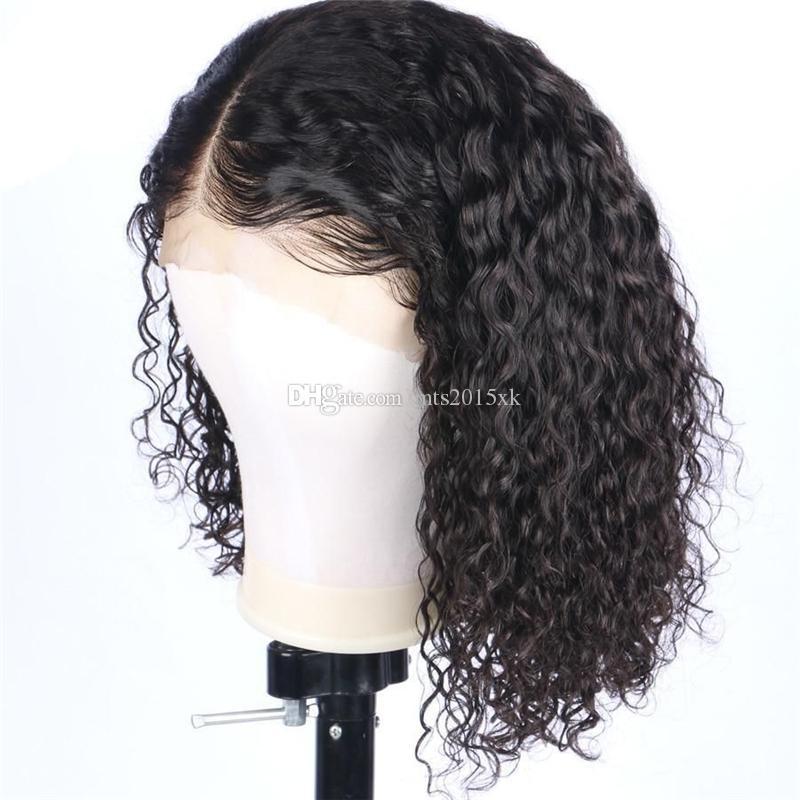 Crépus bouclés perruque 100 cheveux humains Pré Pincées de dentelle Perruques Blanchis Nœuds 13x6 Lace Front perruque de cheveux humains pour les femmes noires