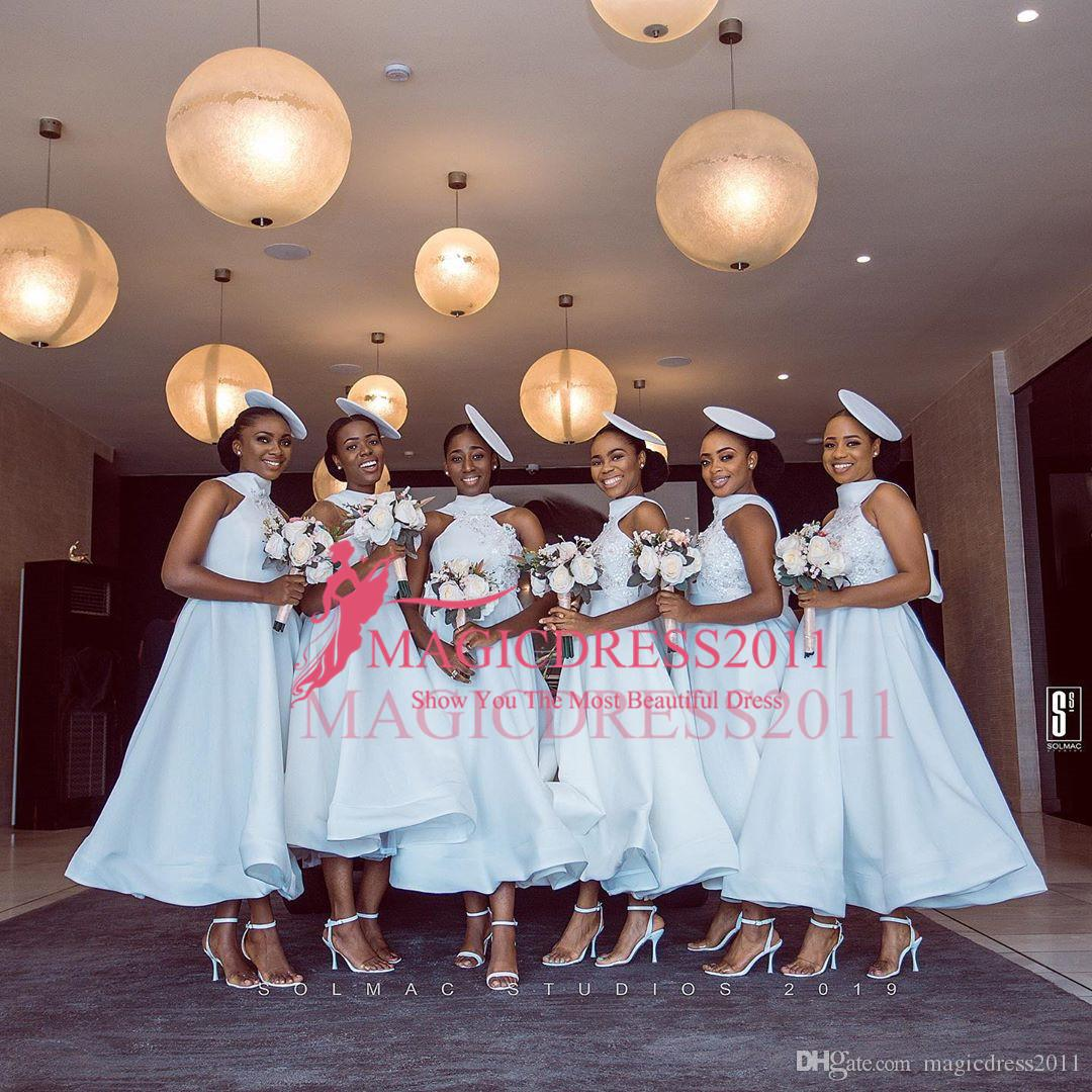 A Linha Nova Africano Vestidos dama de honra Chá Duração Lace Halter mancha com Bow empregada doméstica de honra vestidos baratos Tamanhos Custom Made