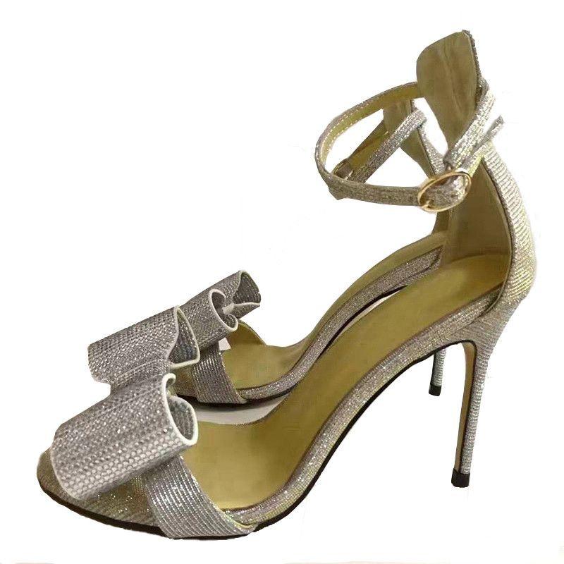빛나는 실버 나비 매듭 검투사 샌들 여성 얇은 높은 뒤꿈치 오픈 발가락 커버 뒤꿈치 여름 Sandalias Mujer
