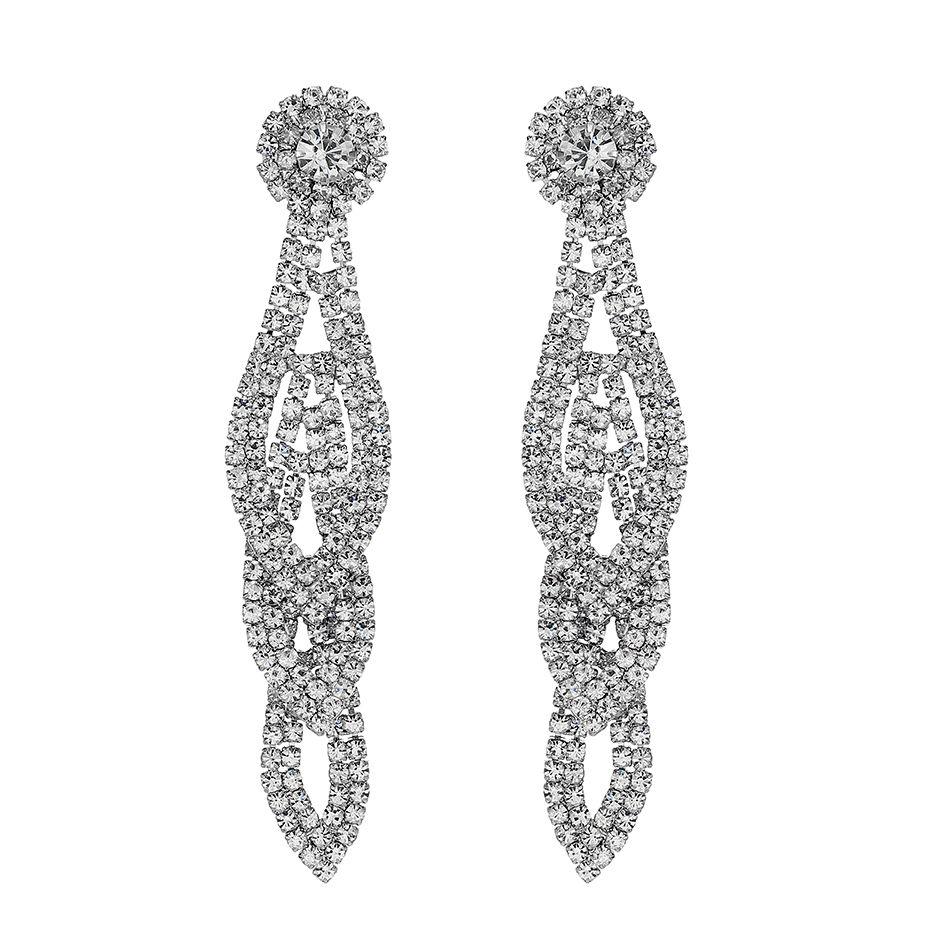 Fashion Leaves Full Austrian Crystal Women Long Dangle Earrings Silver Color Wedding Drop Earrings for Bride Bridesmaids JCC087