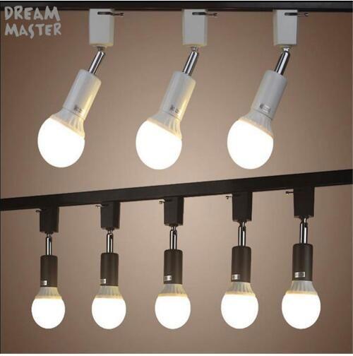 Moderna E27 lampada da binario lampada a binario Illuminazione a binario ruotata per negozio centro commerciale lampada bianca Lampada da soffitto a spot nero bianco