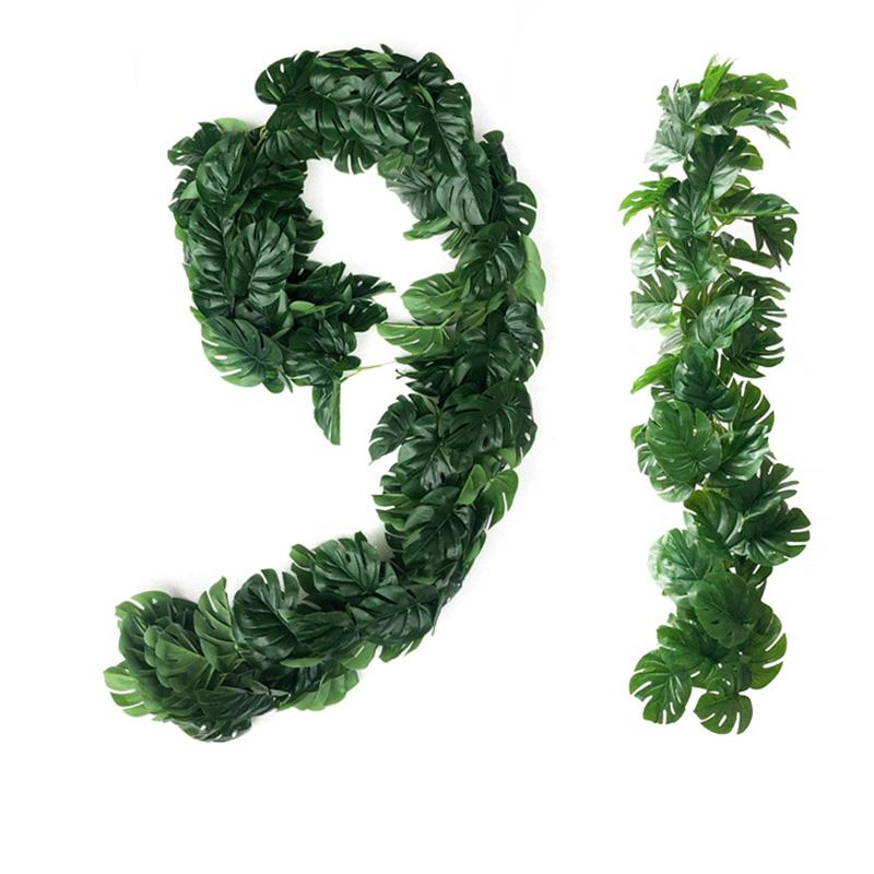 1Meter Faux Turtle Leafs Vine Plastic Green Plant Rattan Hanging Decoration Artificial Tree Leaves Flower String Fake IvyVine