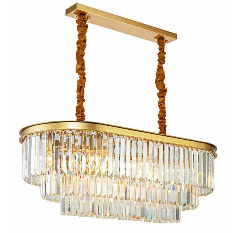 Oval moderna candelabro de cristal ouro para Restaurante Sala de jantar Quarto Chandelier Sala de Estudo Sala Lâmpadas LED E14
