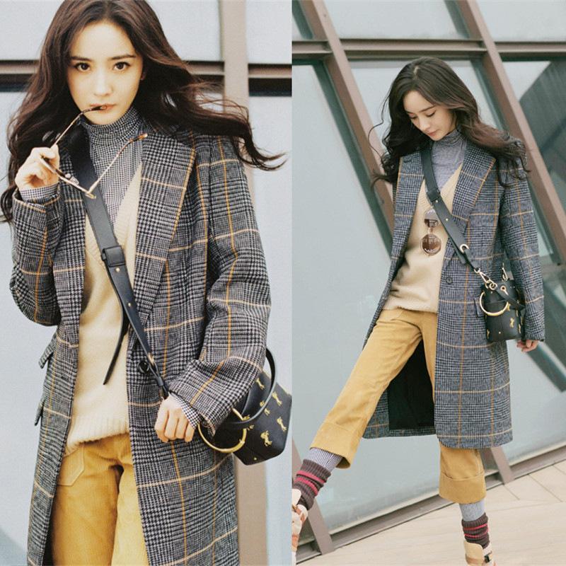 Casual Long Wool Blend Ladies Coat Loose Women's Jacket Plaid Single Breasted Korean Womens Fashion Coat