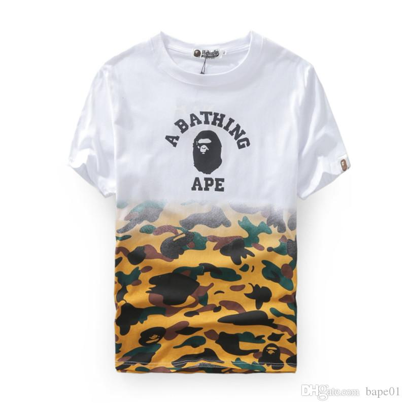 Bape Designer Mens T Shirt Mens Women High Quality Short Sleeves Stitching White Camouflage Color Tees Size M 2XL Tee Shirts For Sale Random T Shirts