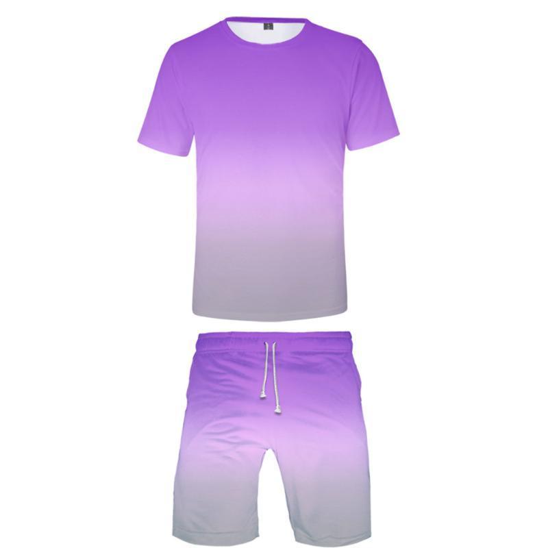 Gradyan renk Seti kısa kollu tişört + Topu pantolon Boş spor rahat Lüks Harajuku Şarkıcı Boş spor