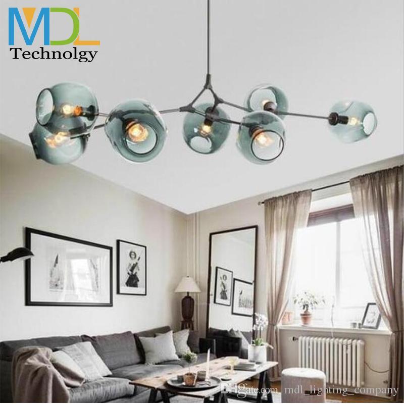 Boule de verre moderne LED plafond lustres lumière 110-240V nordique Art Déco chambre Droplight Pendentif en verre E27 Lampe Salon