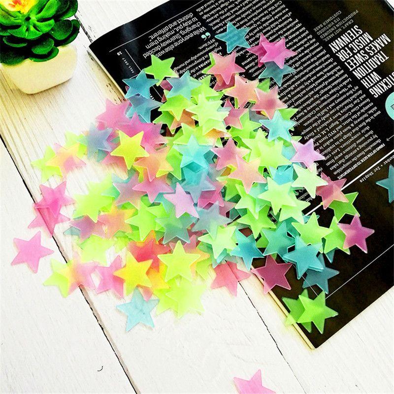100 pieces / set of fluorescent stars stickers baby kids toys children glowing dinosaur stickers for children in the dark glowing toys