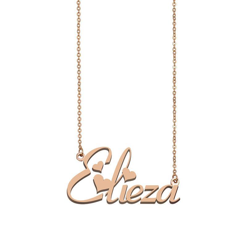 Elieza Namenshalsketten-Anhänger für Frauen-Mädchen-Geburtstags-Geschenk Individuellen Typschild Kinder Best Friends Schmucksachen 18k Gold überzogener Edelstahl