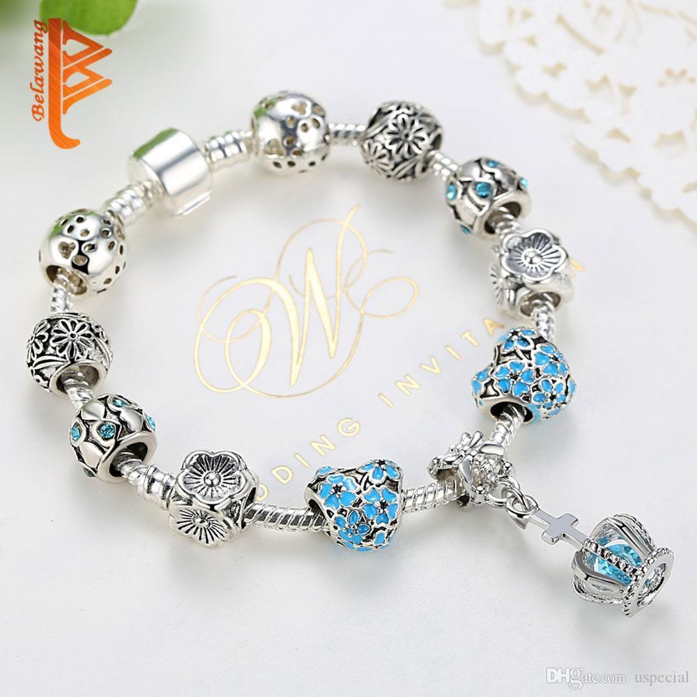 USpecial 2019 braccialetti europei Crown fascino per Cubic Zirconia braccialetti a cristallo 925 Bracciali Pulseras autentici gioielli regalo delle donne