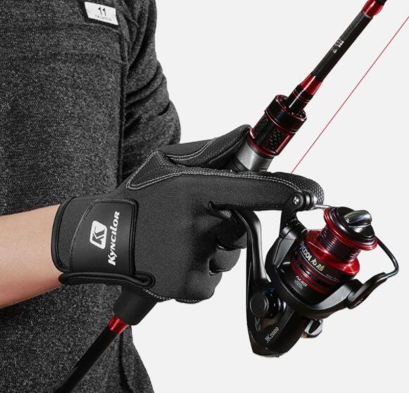 pas cher Sport Gants de pêche en plein air avec trois doigts en nylon résistant à l'usure respirant des gants écran tactile Antiderapant Remise en forme de yakuda