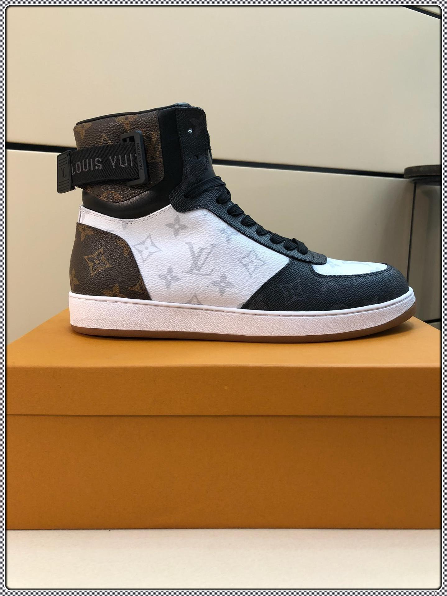 High-top sports men's shoes designer leather casual brand sneakers fashion luxury men's shoes free shipping size 38-45