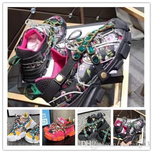 Os mais recentes FlashTrek Designer Sneaker com cristais removíveis Mens Designer de Luxo Casual Designer de moda de luxo das mulheres sapatos Sneaker 0a31