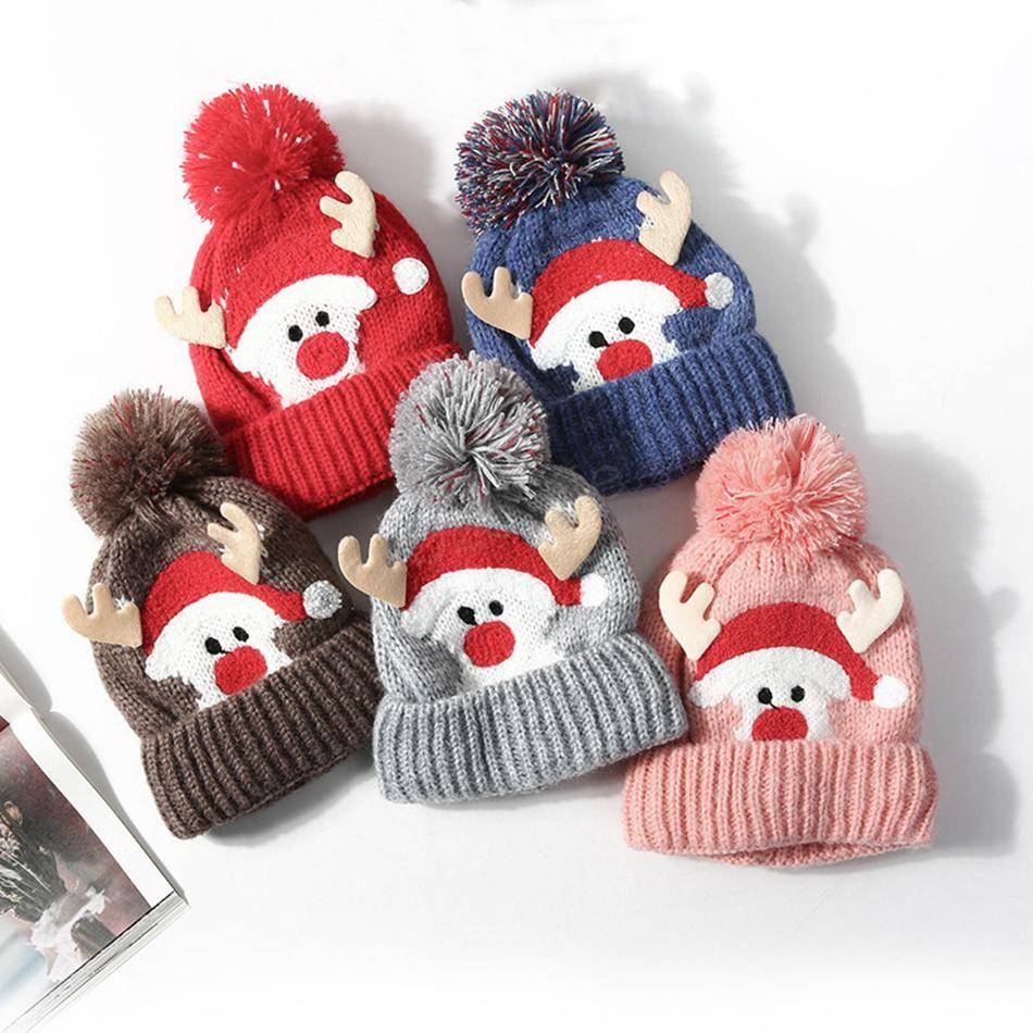 Child Knitting Hat Pom Beanie Kids Adult deer antler Xmas Crochet Lights Knitted Ball Cap Christmas Holloween LJJA2845
