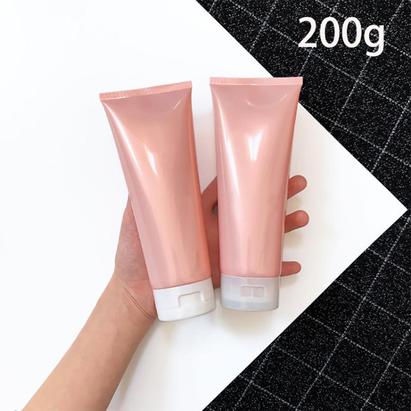الوردي 200G البلاستيك كريم لينة زجاجة إعادة الملء 200ml في مستحضر تجميل يصطلح غسول الجسم شامبو زجاجات الضغط إفراغ شحن مجاني
