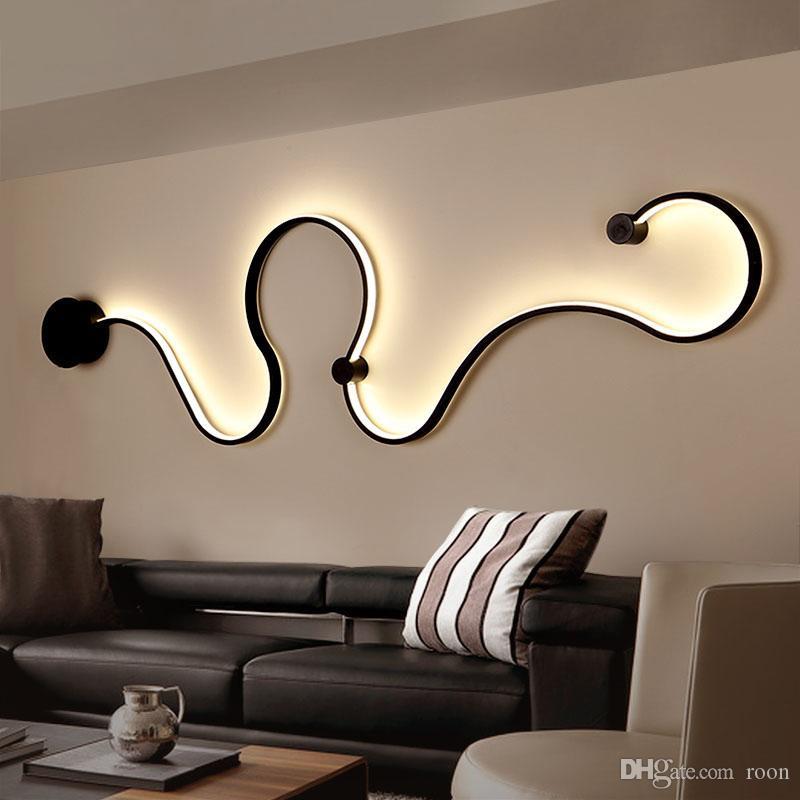 Design moderno simples Luzes LED de parede arte criativa Lâmpada de parede de iluminação criativa fixação para Quarto Sala Corredor Home Decor