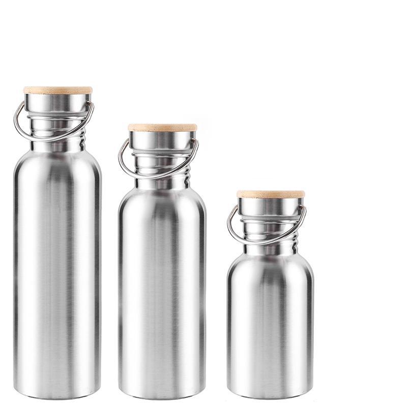 Portable Edelstahl Wasserflasche Bambus Deckel Sport Flaschen Auslaufsicher Reisen Radfahren Wandern Camping-Flaschen BPA frei T200216