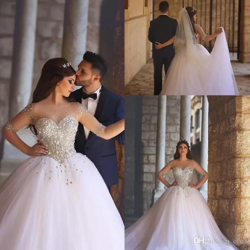 2019 New Luxury Beading Vestidos De Casamento Sheer Tripulação Pescoço Ilusão Mangas Compridas Vestido De Baile Capela Trem Vestido de Noiva