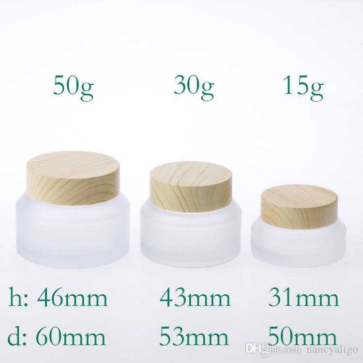Heißer Verkaufs-15g 30g 50g kosmetisches Glas Leer Make-up-Creme kann aus Kunststoff Bambus Cap Frosted Emulsion Glasverpackungen Flaschen