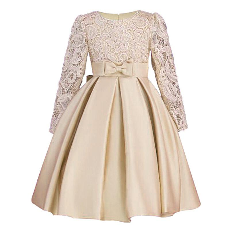 2019 Christmas Girls Dresses Long Sleeve Bud Silk Bowknot Clothes Wedding Party Dress For Girl Children's Princess Dresses J190612
