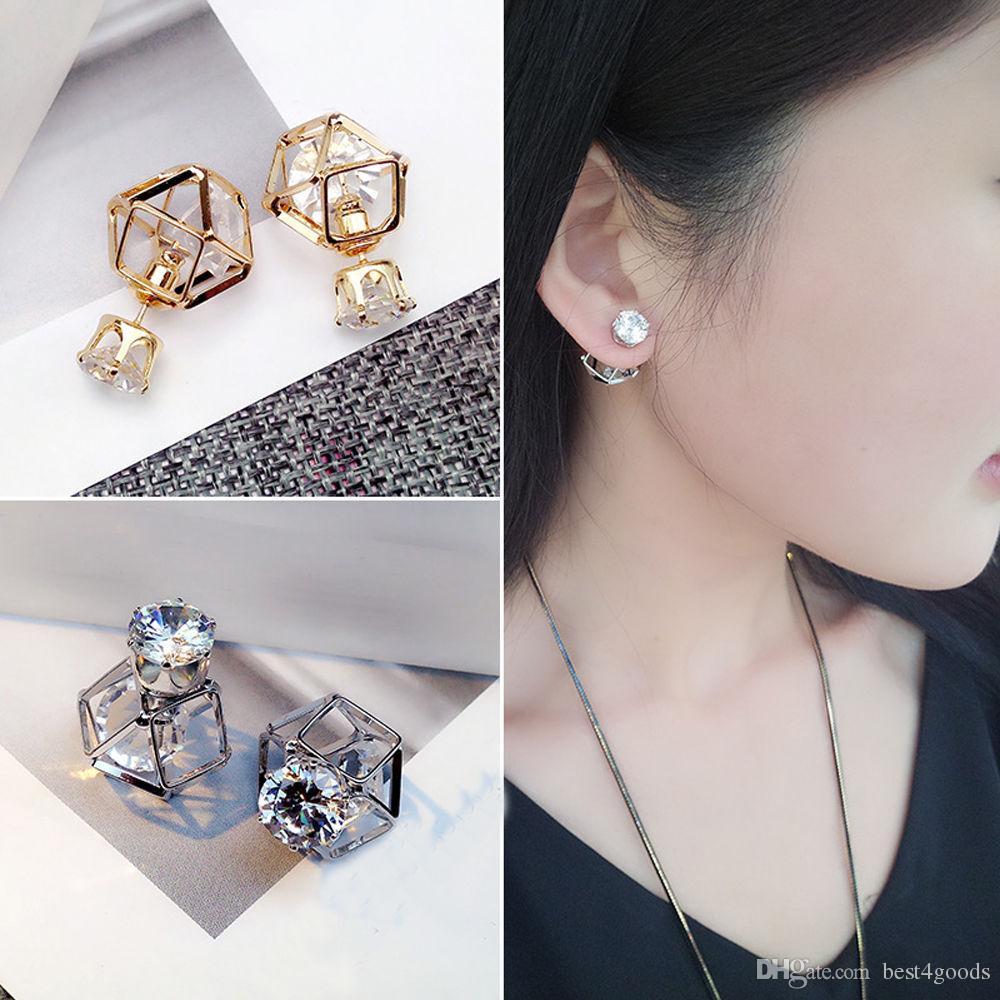Moda Dupla Face Brinco Contratado Ear Geometric liga oco bola de cristal brincos por Mulheres Stud Jewelry