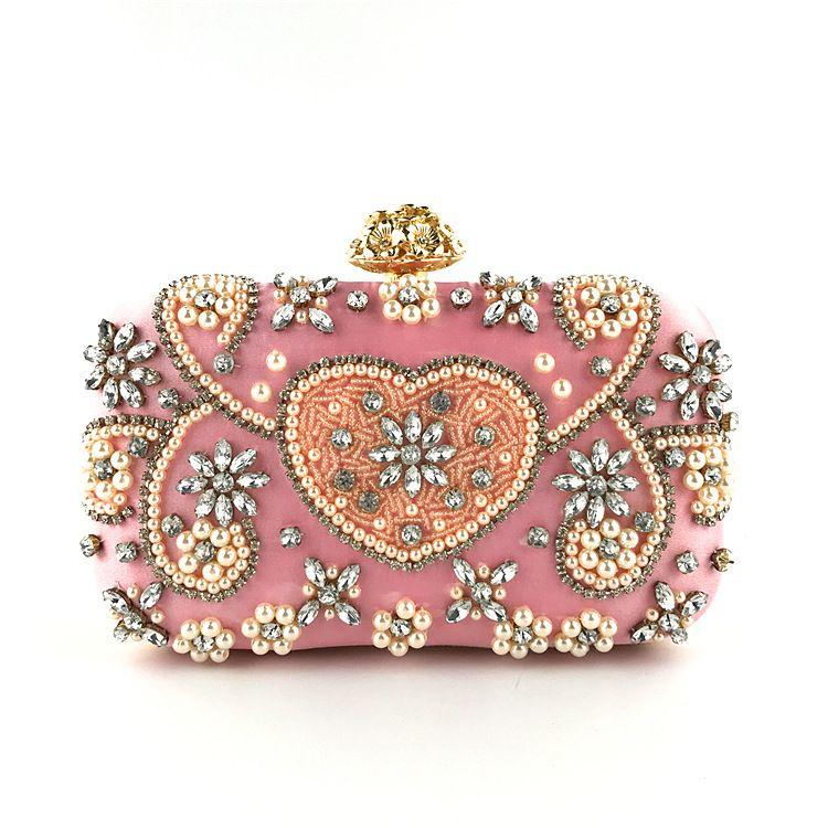 Women Beaded Handbags and Purses Fashion Diamond Hand Clutches High Quality Bridal Pearl Wedding Evening Clutch Bag Exquisite Cross body Bag