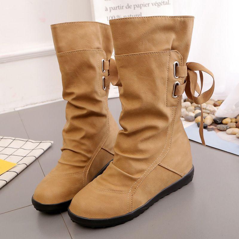2020 Новый Mid-теленок сапоги женщин Мода Платформа Boots скольжения на шнуровке Твердые плоские каблуки дамы вскользь теплые ботинки