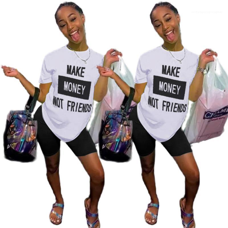 T-Shirt Machen Sie Tops Geld nicht Freunde Brief gedruckte kurze Hülsen-beiläufige recht nette Art-Damen Kleidung Sommer-Frauen Designer