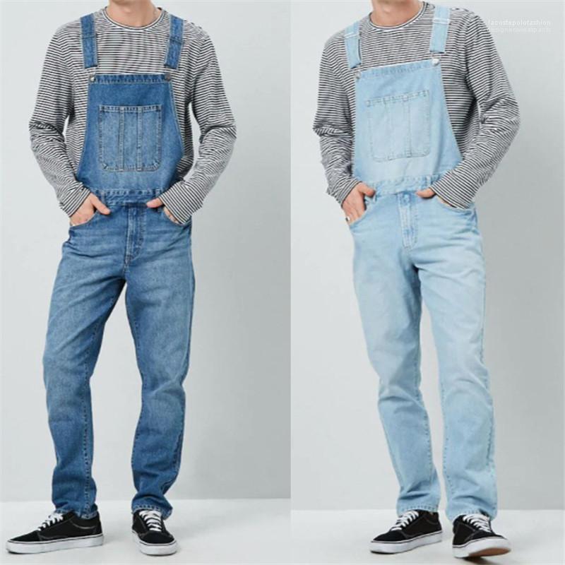 Calças Masculinas Com Bolsos Calças De Ganga Jardineiras De Alta Cintura Azul Calças De Moda Compridas