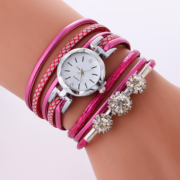 fashion women small silver dial diamond leather cross bracelet watches wholesale ladies casual leisure dress quartz wrist watch