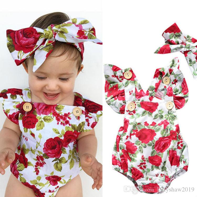Wholesale Baby Girl Spaghetti straps Halter Romper + Headbamd Jumpsuit Floral Sunsuit Outfits 2 pieces Set for Christmas