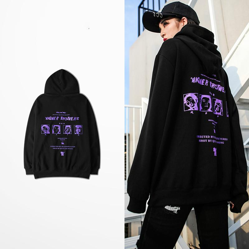 New Fashion Design Higher Brothers People Print Mens Hoodies And Sweatshirts Red Orange Color Dark Souls Sweatshirt Man