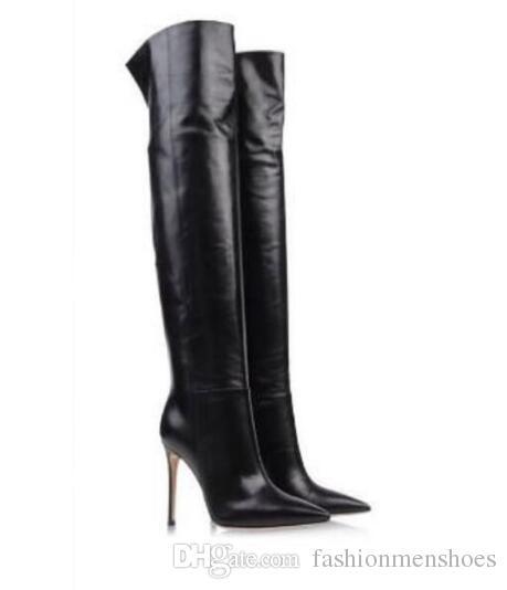Von 2019 Oberschenkel Lange Dünne Großhandel Schuhe Schwarze Mode Damen Booties Party Frauen Hohe Stiefel Zehe Ferse Lederstiefel Punkt KJFc31Tl