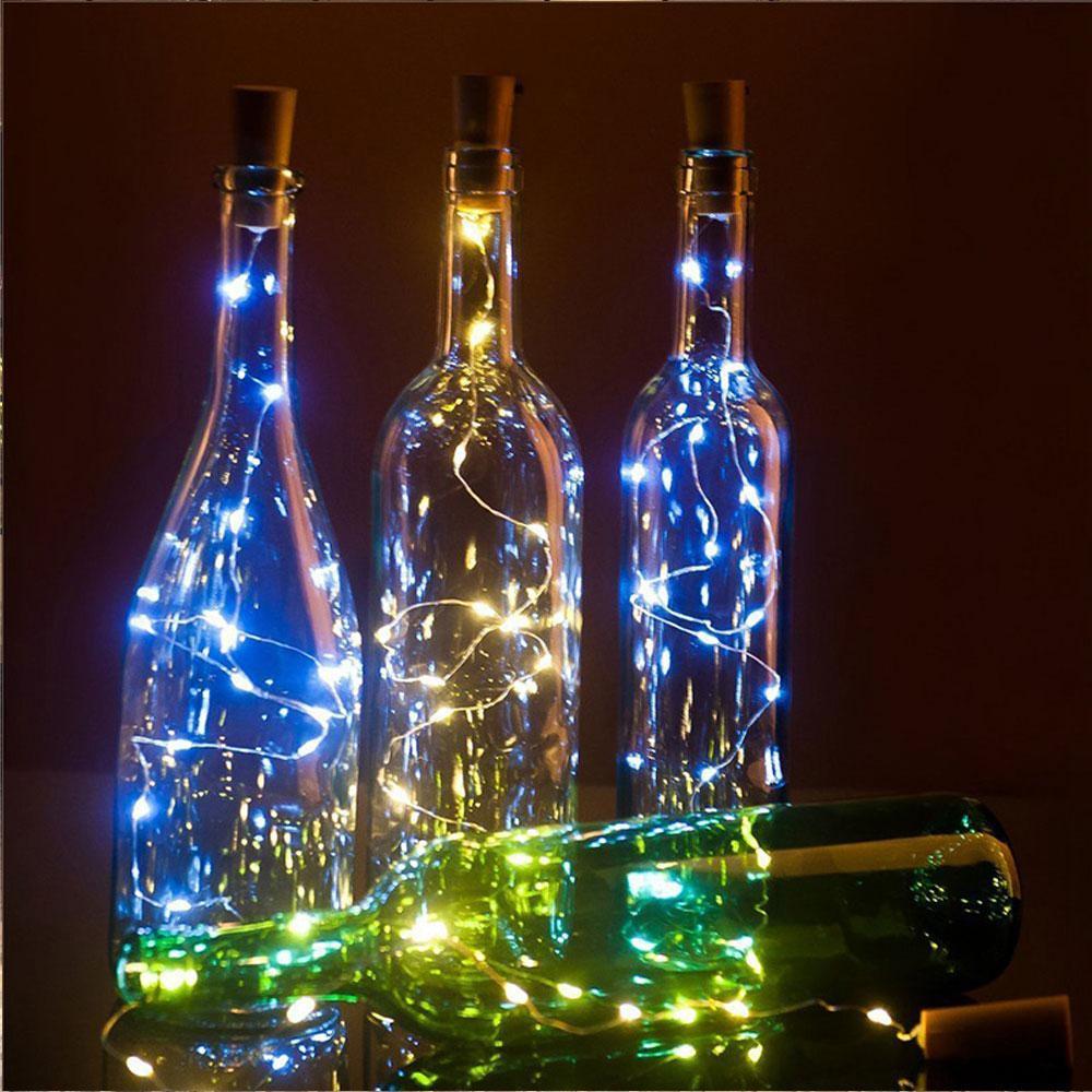 20 светодиодов свет пробка пробка бокал вина из светодиодов медная строка рождественская вечеринка свадебный праздник украшения струнные огни