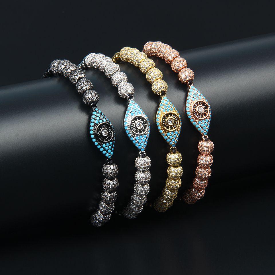 Jewelry Women Bracelets Turquoise CZ Eye Braiding Bracelet For Men 6mm Cz Ball Beads 4mm Stainless Steel Beads Hamsa Jewelry
