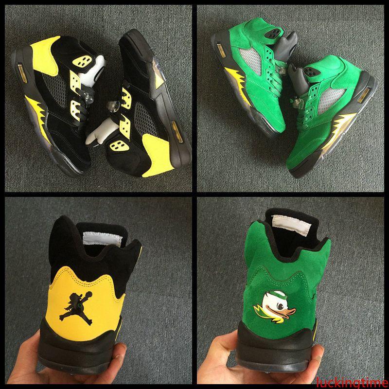 Nueva alta calidad 5s 5 Oregon Ducks zapatos de baloncesto del Mens JumpDucks Green Shoe Negro deportivo amarillo transpirable zapatillas de deporte Marca Tamaño 8-13