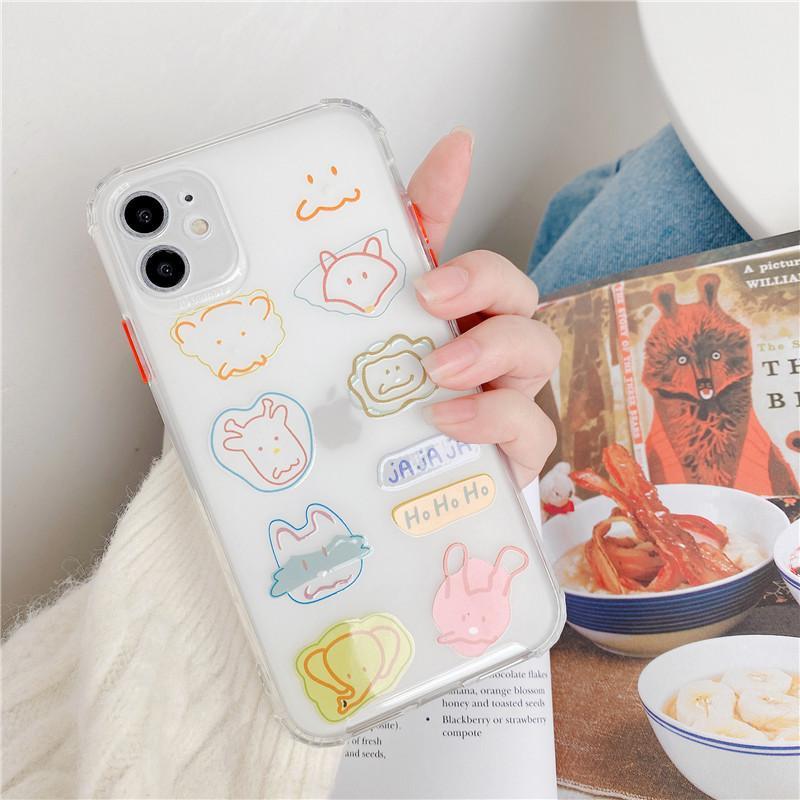 Animal Giraffe Fox Elephant Epoxy Gel Soft TPU Mobile Phone Case Cover for iphone 11 pro max 7 8 plus x xr