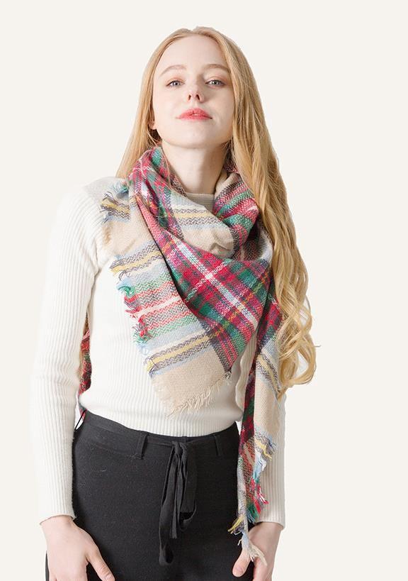 Mode femme Plaid écharpe 140 * 140CM surdimensionné Tartan Wrap Châle Lady Outdoor Tassel Echarpes Blanket WARM