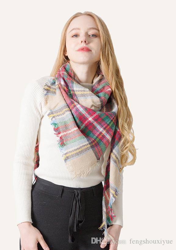 Moda Kadın Ekose Eşarp 140 * 140cm Boy Tartan Wrap Şal Lady Açık Püskül Eşarplar Sıcak Battaniye